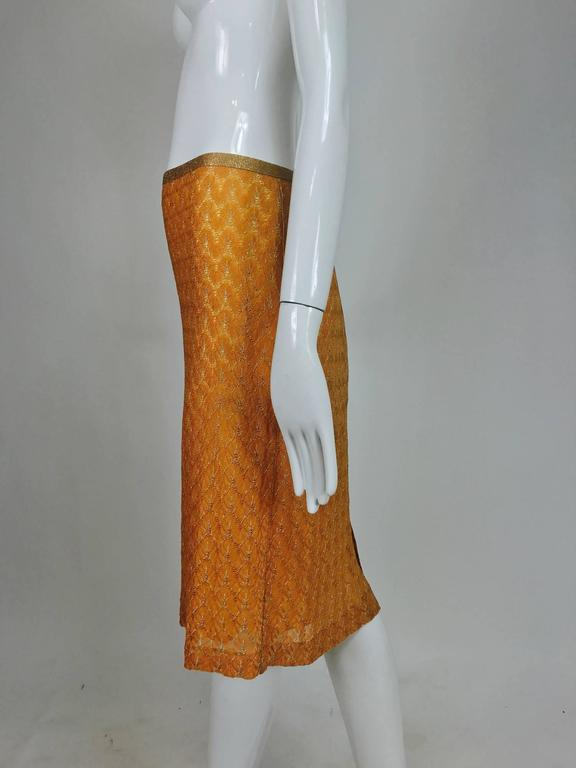 Women's Missoni coral and gold metallic knit straight skirt unworn For Sale