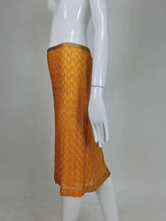 Missoni coral and gold metallic knit straight skirt unworn For Sale 1
