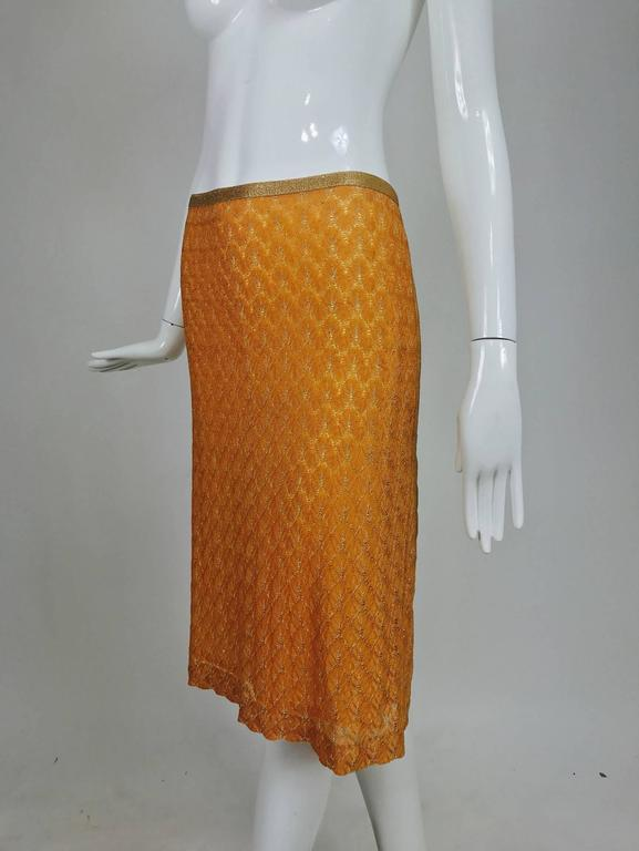 Missoni coral and gold metallic knit straight skirt unworn For Sale 2