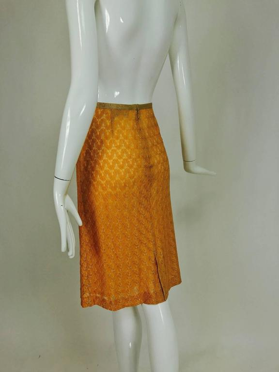 Missoni coral and gold metallic knit straight skirt unworn For Sale 3