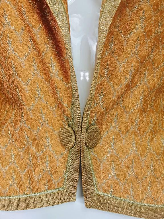 Missoni coral and gold metallic knit single button front cropped jacket Unworn 2