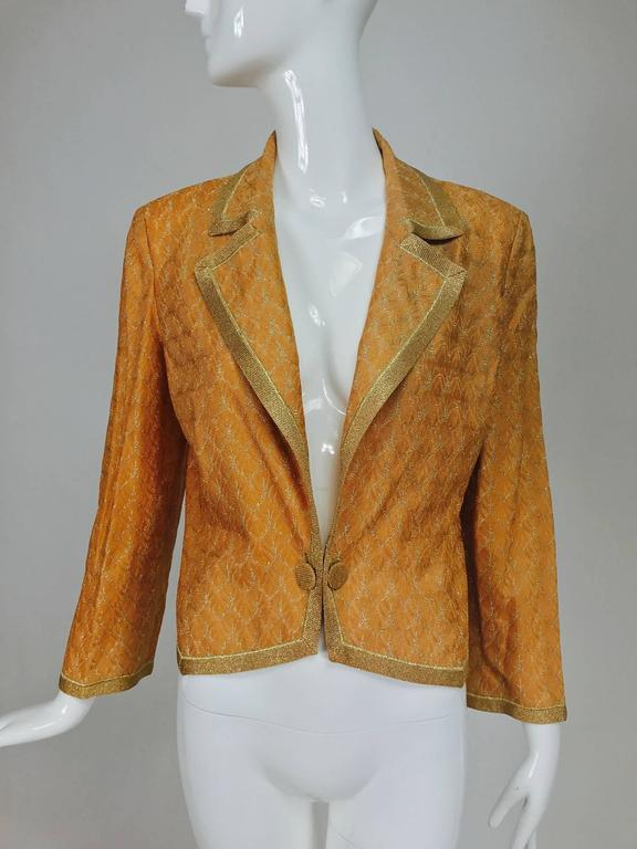 Missoni coral and gold metallic knit single button front cropped jacket Unworn 3