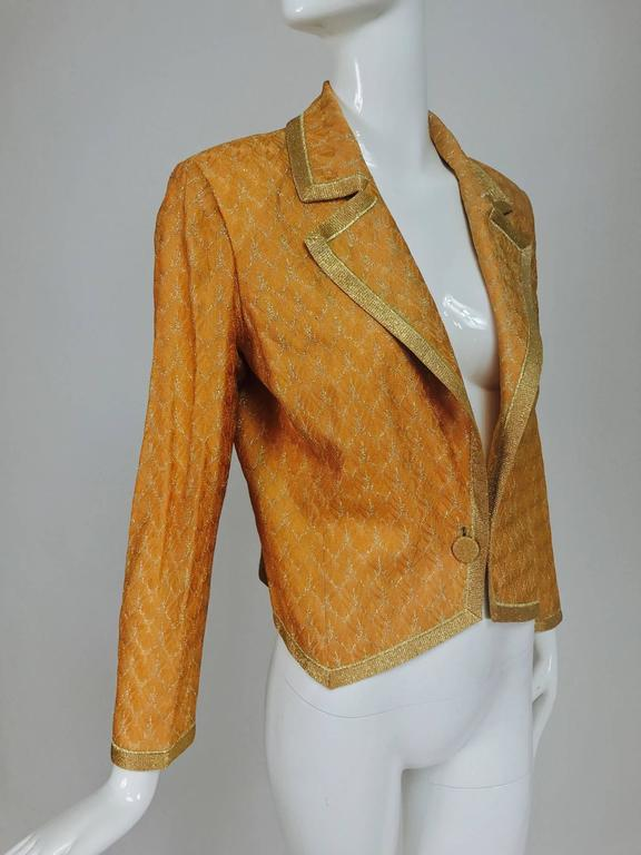Missoni coral and gold metallic knit single button front cropped jacket Unworn 4