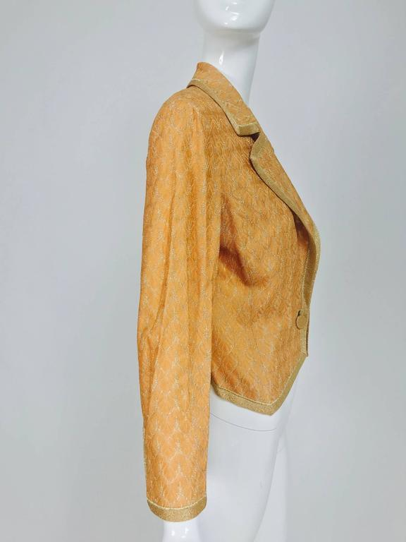 Missoni coral and gold metallic knit single button front cropped jacket Unworn 5