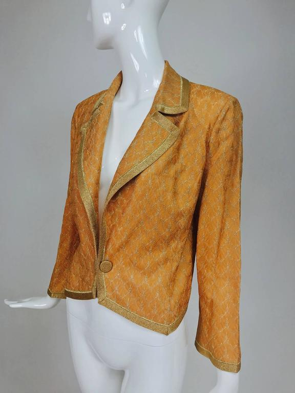 Missoni coral and gold metallic knit single button front cropped jacket Unworn 8