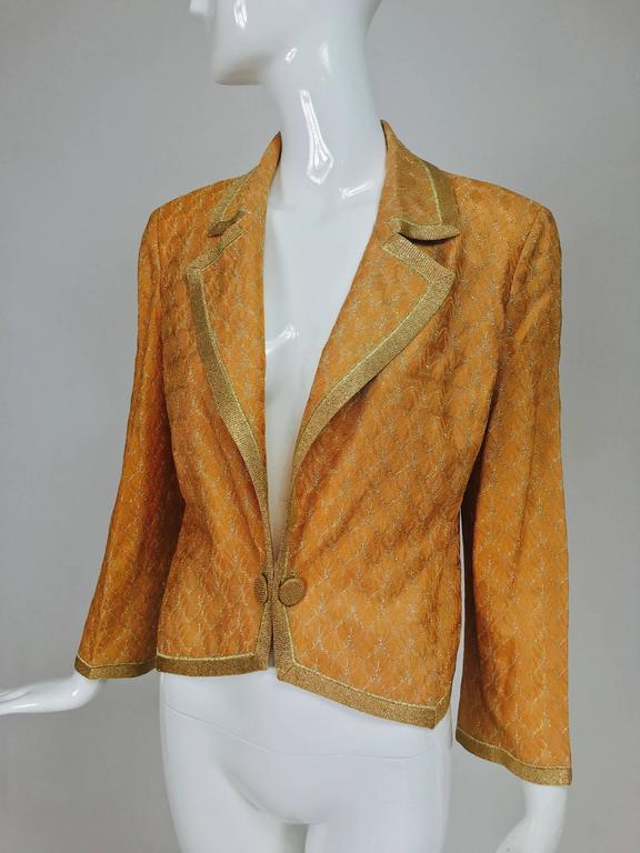 Missoni coral and gold metallic knit single button front cropped jacket Unworn 9