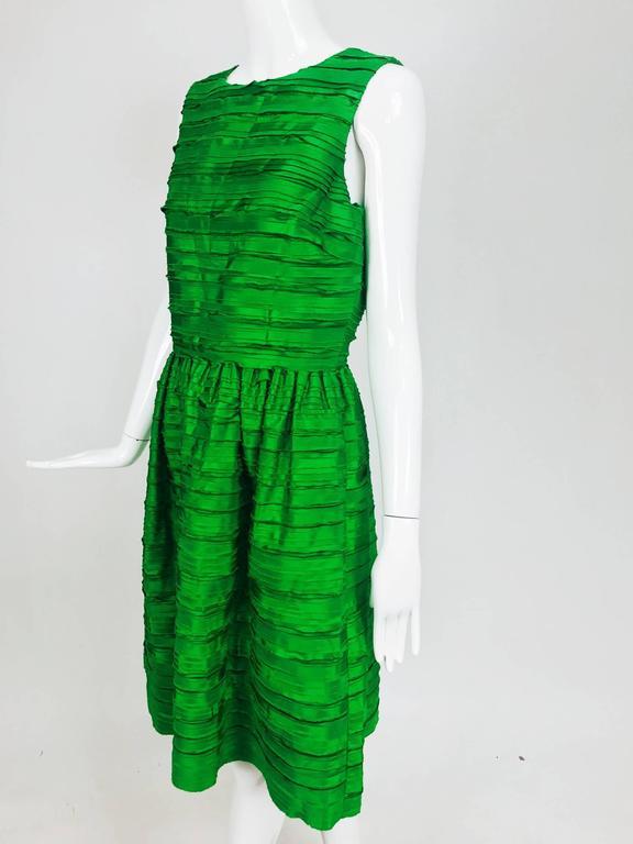 Oscar de la Renta grass green silk layered ribbon dress  2