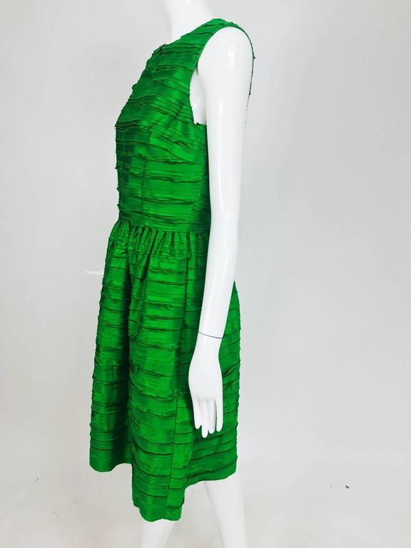 Oscar de la Renta grass green silk layered ribbon dress  3