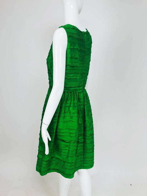 Oscar de la Renta grass green silk layered ribbon dress  4