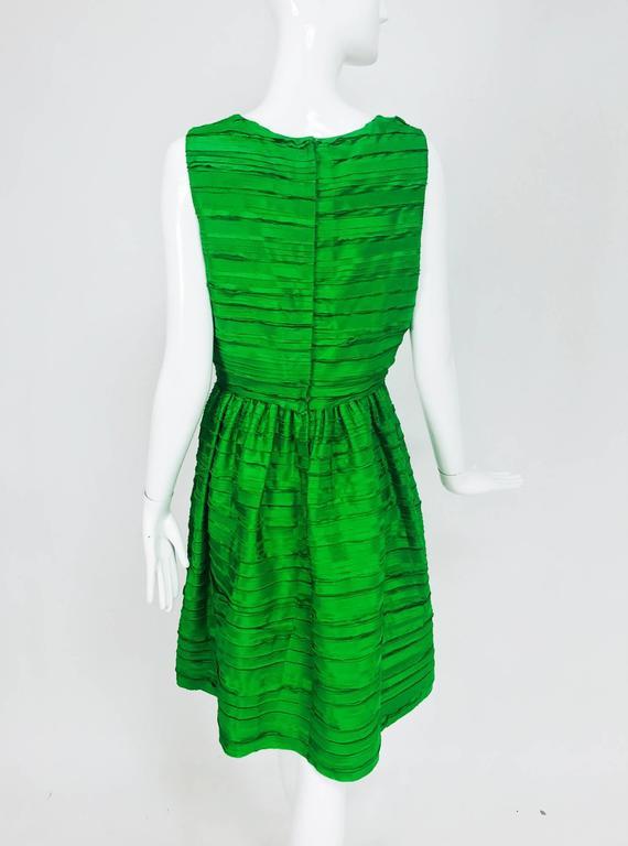 Oscar de la Renta grass green silk layered ribbon dress  5