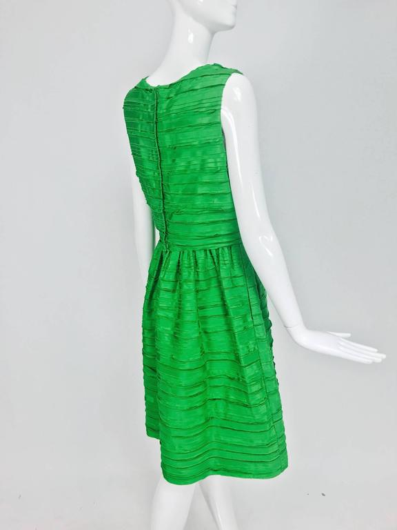 Oscar de la Renta grass green silk layered ribbon dress  6