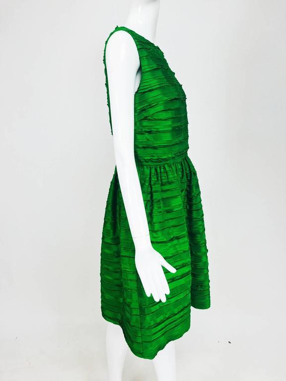 Oscar de la Renta grass green silk layered ribbon dress  7