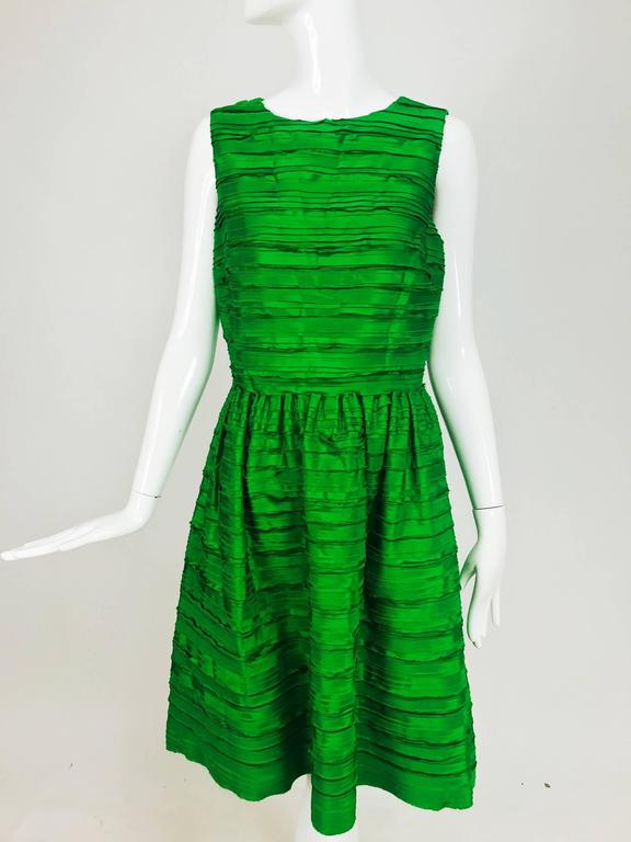 Oscar de la Renta grass green silk layered ribbon dress  8
