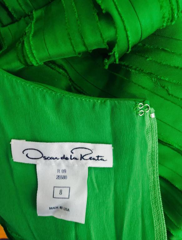 Oscar de la Renta grass green silk layered ribbon dress  9