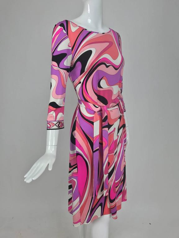 Pucci silk jersey scoop back dress in pink and orange plus  3