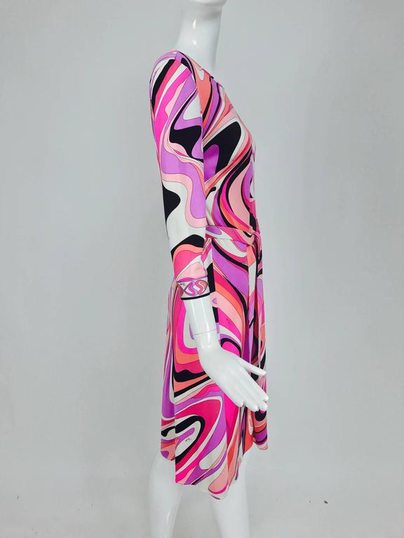 Pucci silk jersey scoop back dress in pink and orange plus  4