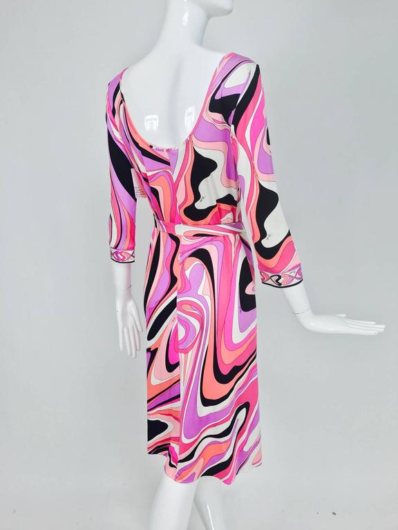 Pucci silk jersey scoop back dress in pink and orange plus  5