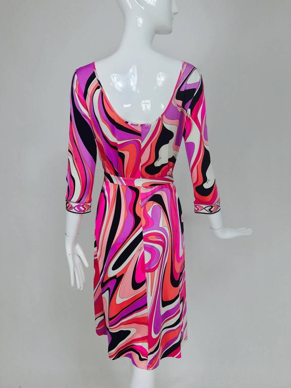 Pucci silk jersey scoop back dress in pink and orange plus  6