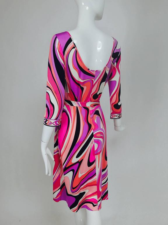Pucci silk jersey scoop back dress in pink and orange plus  7