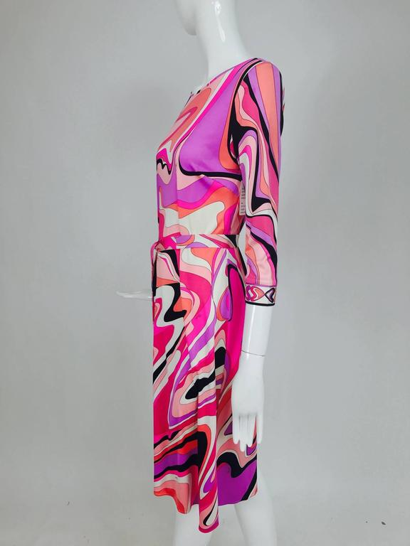 Pucci silk jersey scoop back dress in pink and orange plus  8