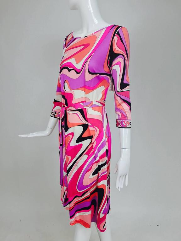 Pucci silk jersey scoop back dress in pink and orange plus  9