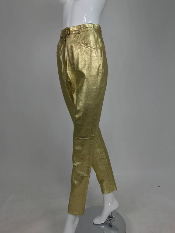 Brown Vintage Ferragamo soft gold leather jeans style trousers 1980s