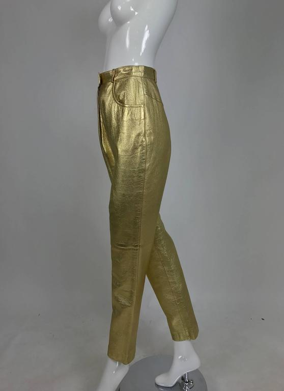 Vintage Ferragamo soft gold leather jeans style trousers 1980s In Excellent Condition In West Palm Beach, FL