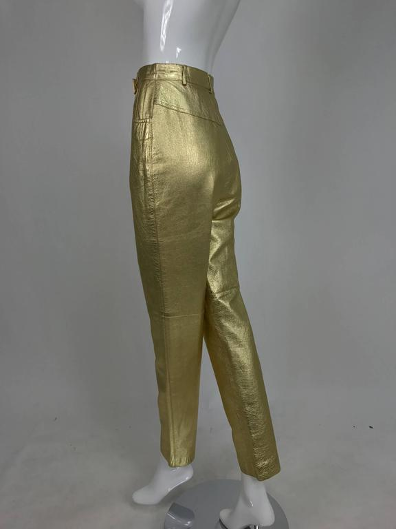 Women's Vintage Ferragamo soft gold leather jeans style trousers 1980s