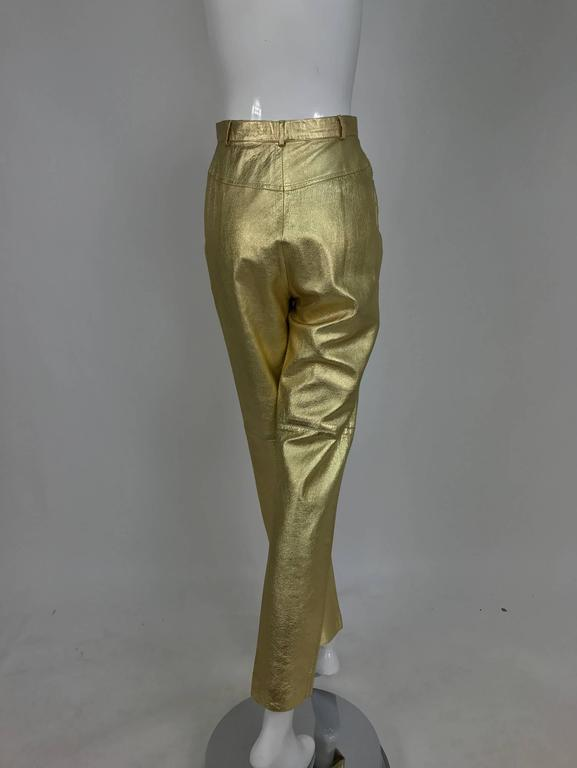 Vintage Ferragamo soft gold leather jeans style trousers 1980s 1