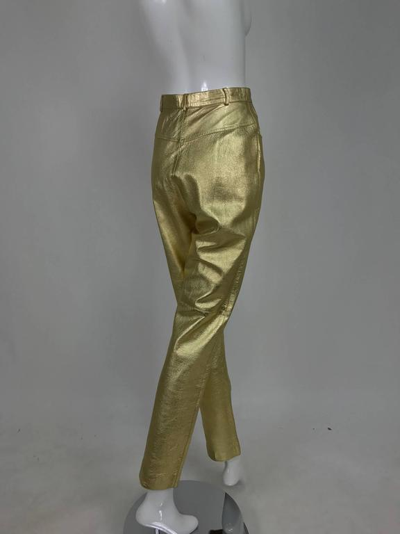 Vintage Ferragamo soft gold leather jeans style trousers 1980s 2