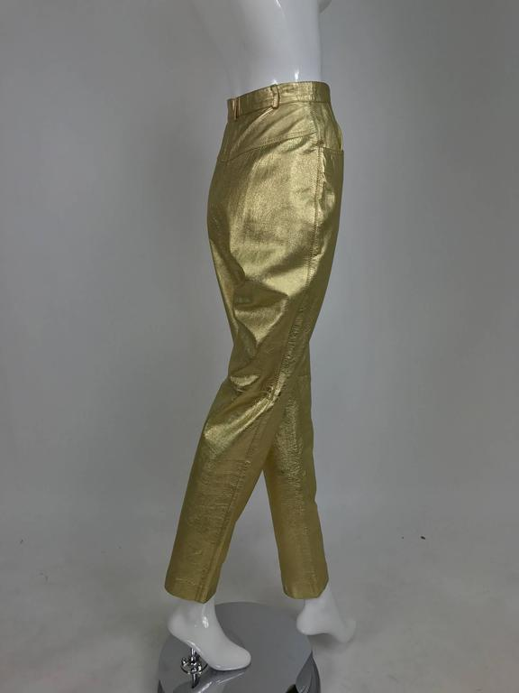 Vintage Ferragamo soft gold leather jeans style trousers 1980s 3