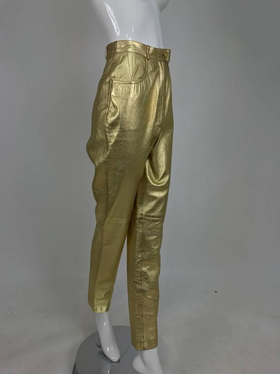 Vintage Ferragamo soft gold leather jeans style trousers 1980s 4