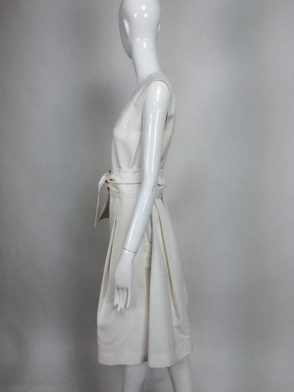 Gray Yves Saint Laurent sleeveless creamy white cotton and silk wrap waist dress Lg. For Sale