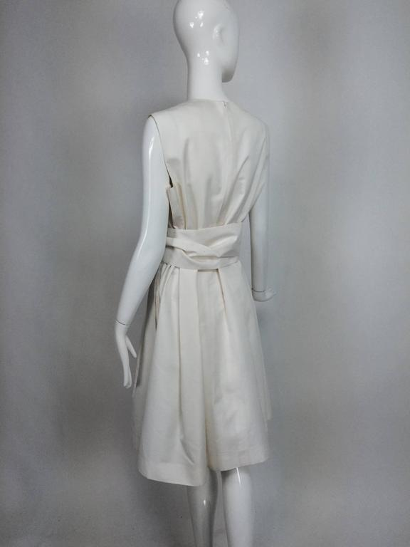 Women's Yves Saint Laurent sleeveless creamy white cotton and silk wrap waist dress Lg. For Sale