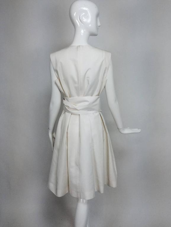 Yves Saint Laurent sleeveless creamy white cotton and silk wrap waist dress Lg. For Sale 1