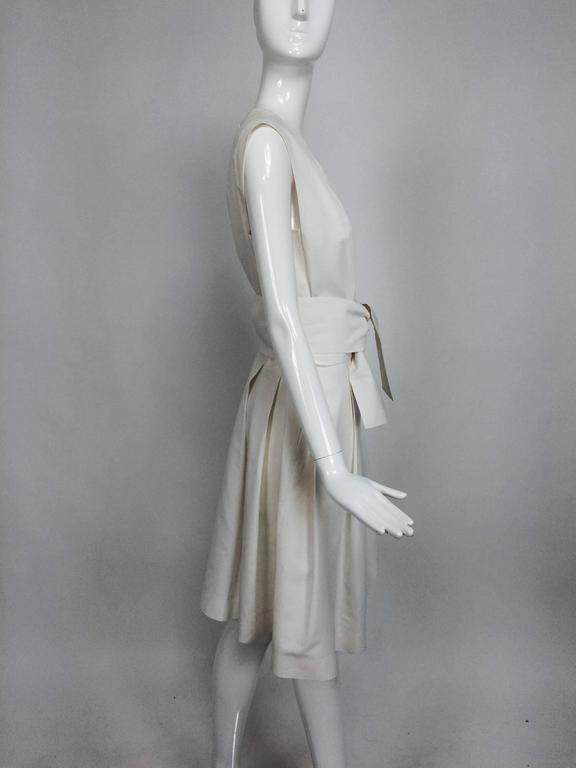 Yves Saint Laurent sleeveless creamy white cotton and silk wrap waist dress Lg. For Sale 3