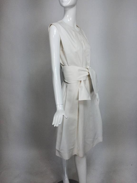 Yves Saint Laurent sleeveless creamy white cotton and silk wrap waist dress Lg. For Sale 4