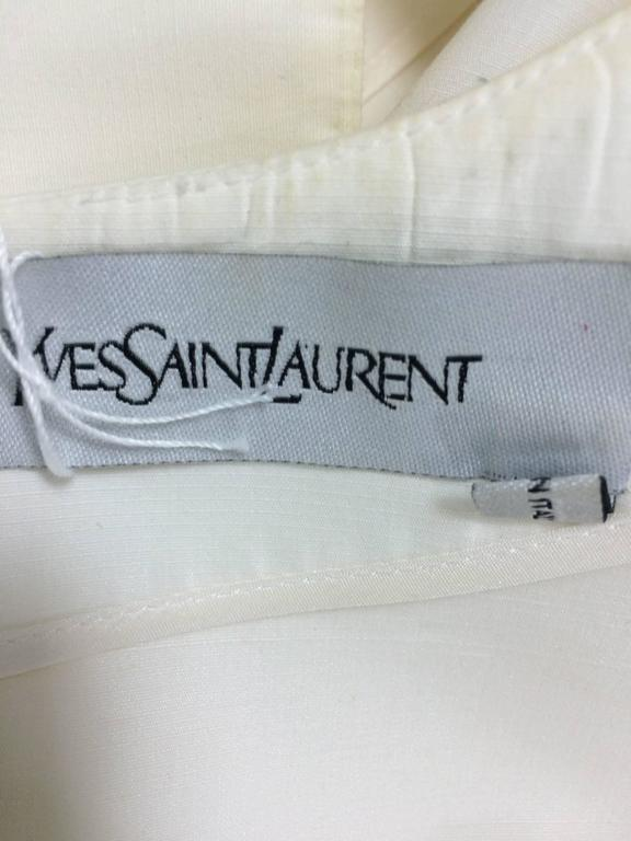 Yves Saint Laurent sleeveless creamy white cotton and silk wrap waist dress Lg. For Sale 5