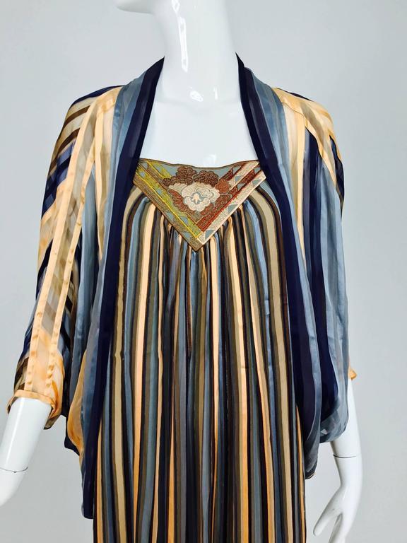 Vintage Janice Wainwright 2pc woven silk stripe maxi dress and jacket 1970s 3