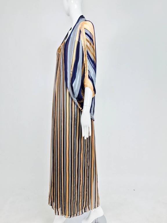 Vintage Janice Wainwright 2pc woven silk stripe maxi dress and jacket 1970s 4