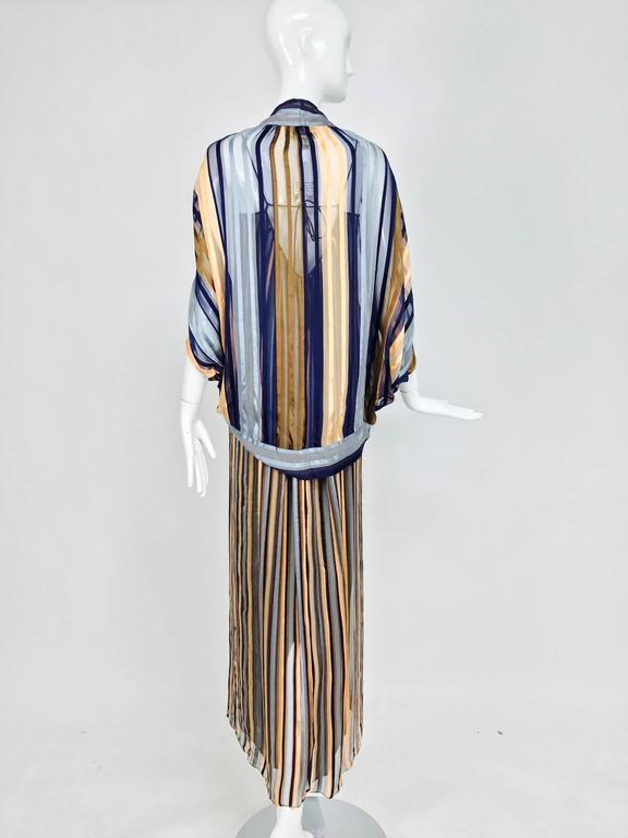 Vintage Janice Wainwright 2pc woven silk stripe maxi dress and jacket 1970s 5