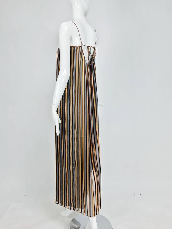 Vintage Janice Wainwright 2pc woven silk stripe maxi dress and jacket 1970s 7