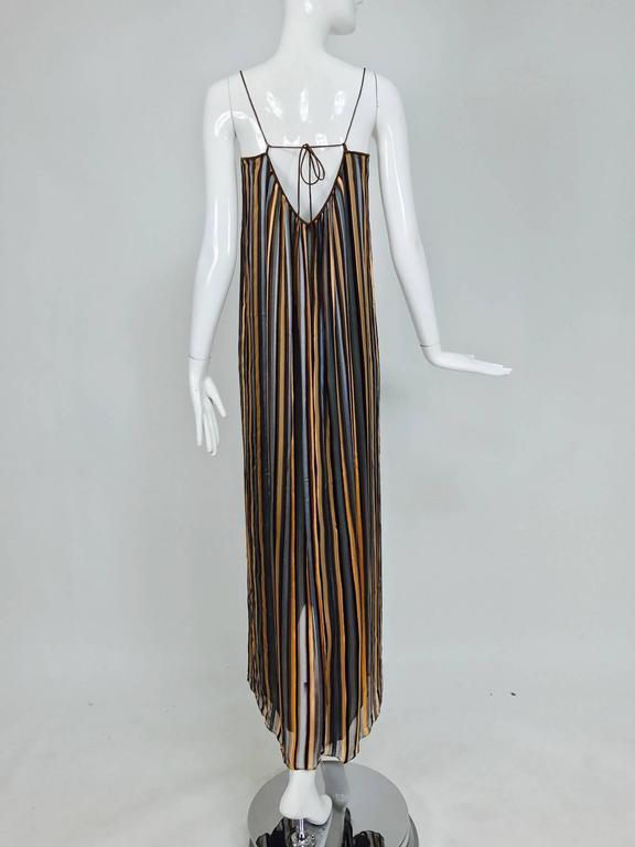 Vintage Janice Wainwright 2pc woven silk stripe maxi dress and jacket 1970s 8