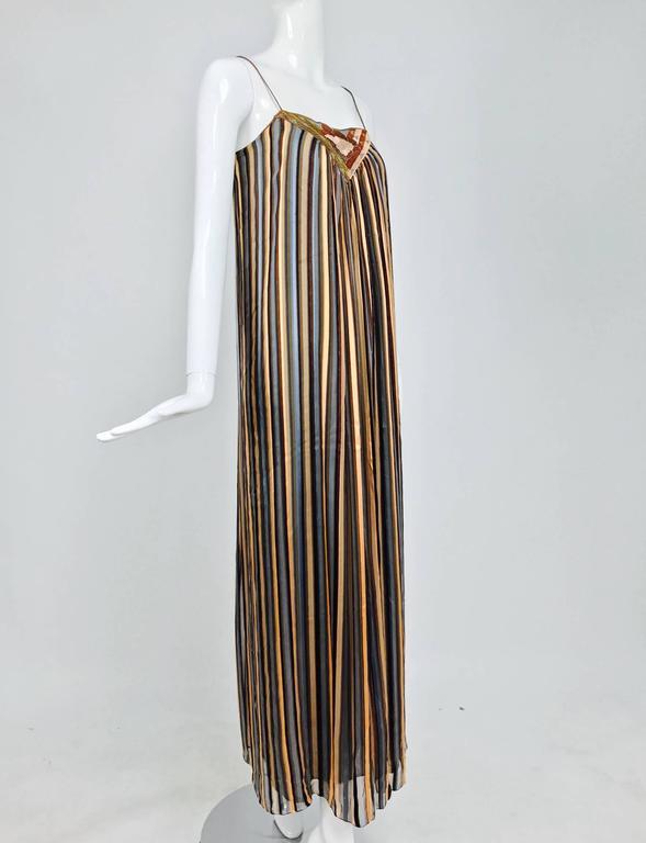 Vintage Janice Wainwright 2pc woven silk stripe maxi dress and jacket 1970s 9