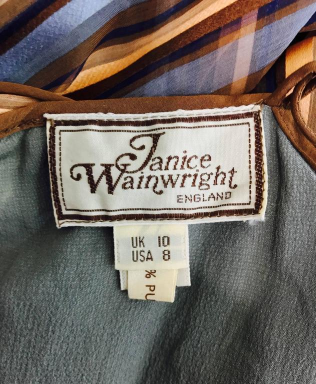 Vintage Janice Wainwright 2pc woven silk stripe maxi dress and jacket 1970s 10