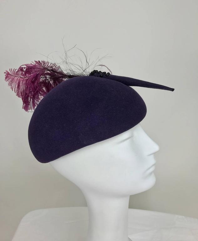Gray Vintage Mr John purple wool beaded and feather cocktail hat 1950s For Sale