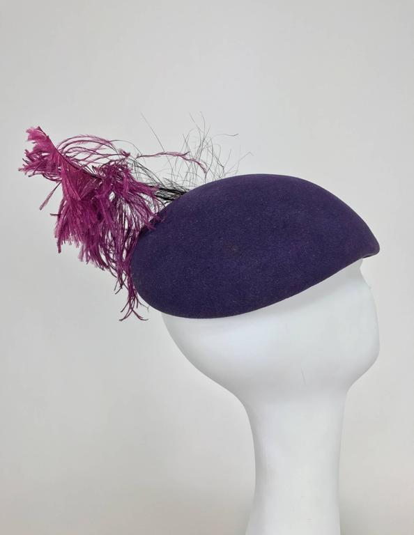 Vintage Mr John purple wool beaded and feather cocktail hat 1950s In Excellent Condition For Sale In West Palm Beach, FL