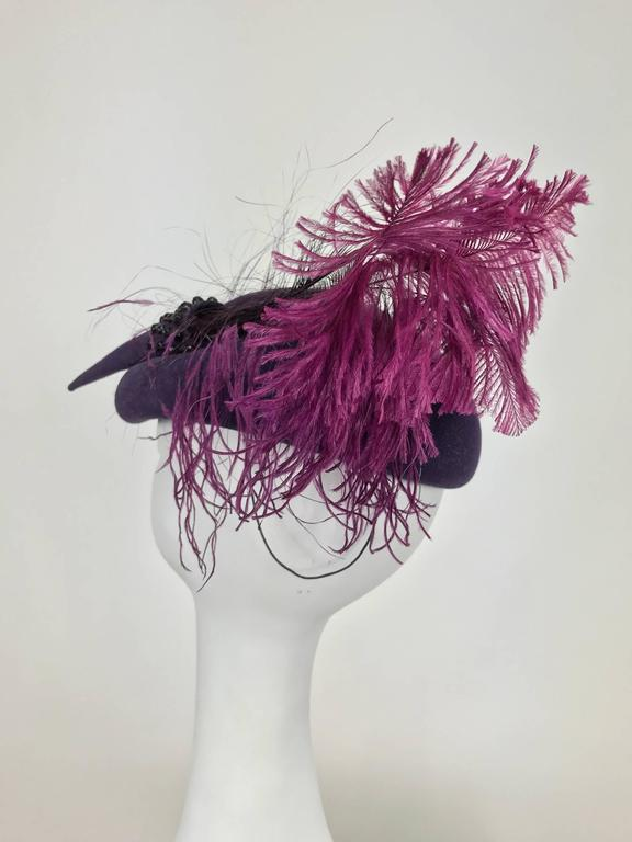 Vintage Mr John purple wool beaded and feather cocktail hat 1950s For Sale 1