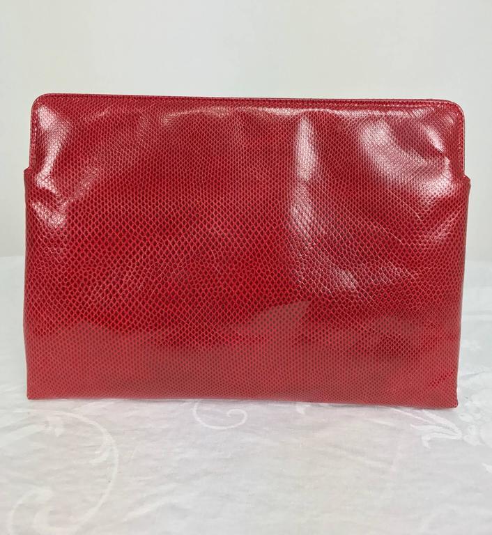 Red Vintage Ferragamo red lizard clutch cross body handbag 1980s For Sale