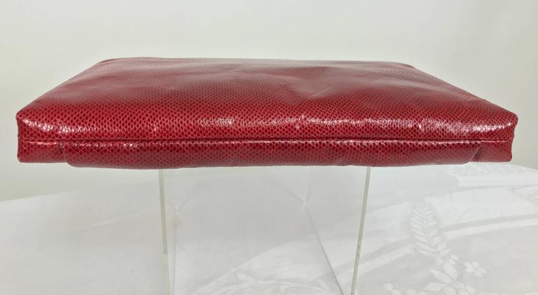 Women's Vintage Ferragamo red lizard clutch cross body handbag 1980s For Sale